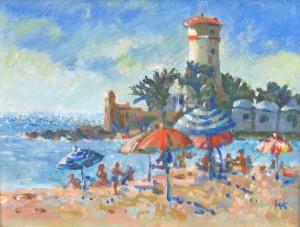 Strand en parasols-bew